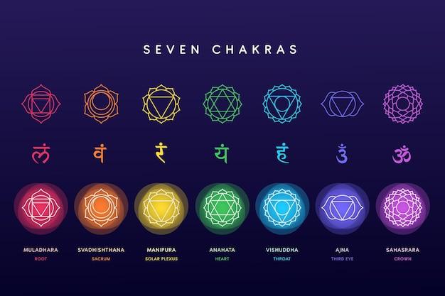 Set di chakra colorati Vettore gratuito