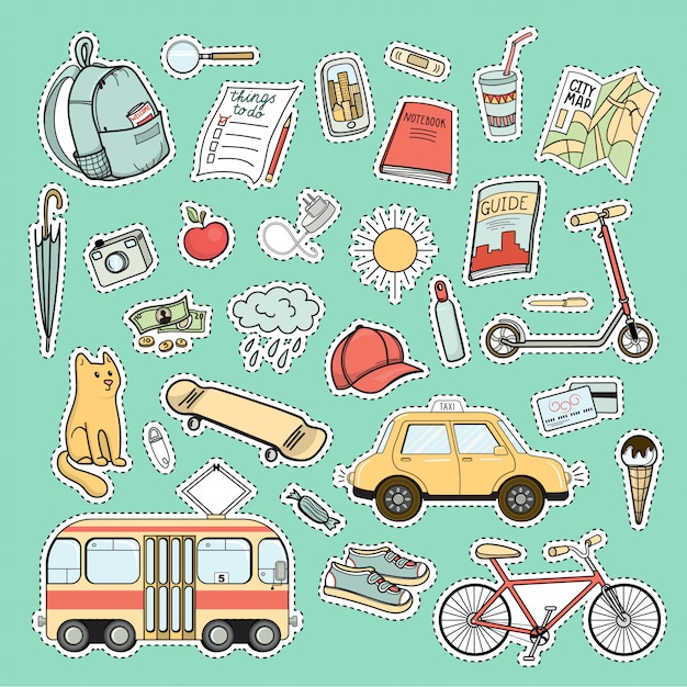 Set of colorful city life patches - backpack, bike, tram, taxi car, skateboard, map, book, guide and other tourist necessities Premium Vector