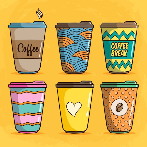 Set of colorful coffee paper cup illustration with cute doodle style on yellow background Premium Vector