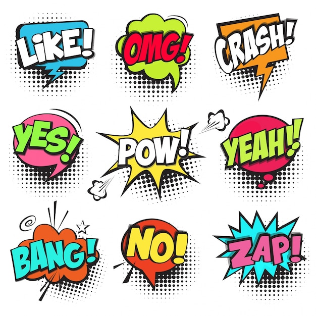 Set of colorful comic speech bubbles Free Vector