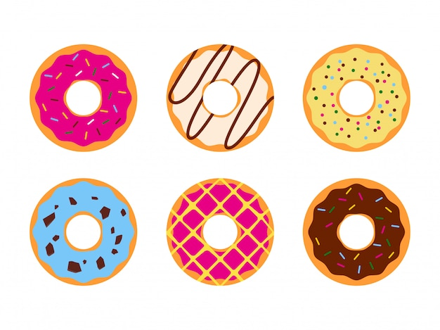 Set of colorful donuts glazed sweet sugar icing Premium Vector