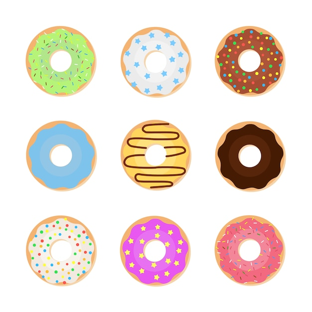 Set of colorful donuts. vector illustration of sweet donuts Premium Vector