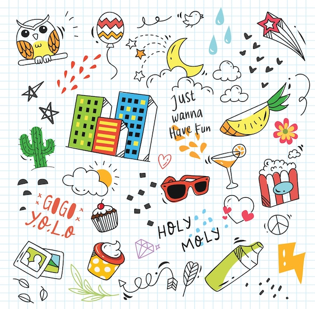 Set of colorful doodle on paper background Premium Vector