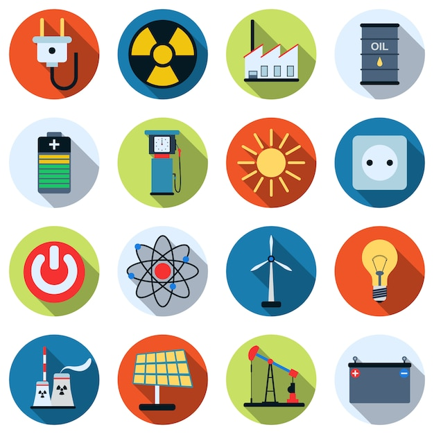 A set of colorful energy and power icons. Premium Vector