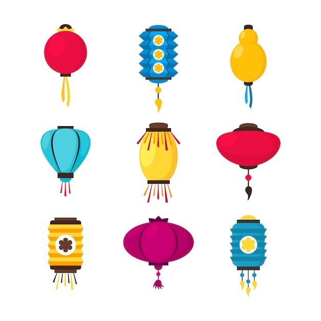 Set of colorful flat paper street chinese lanterns. holiday decorative design element. china festive decor Premium Vector