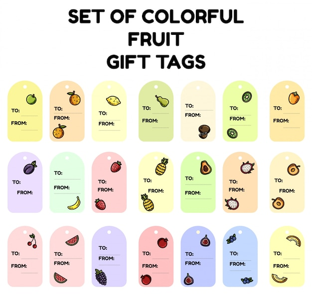 Set of colorful fruit gift tags Premium Vector