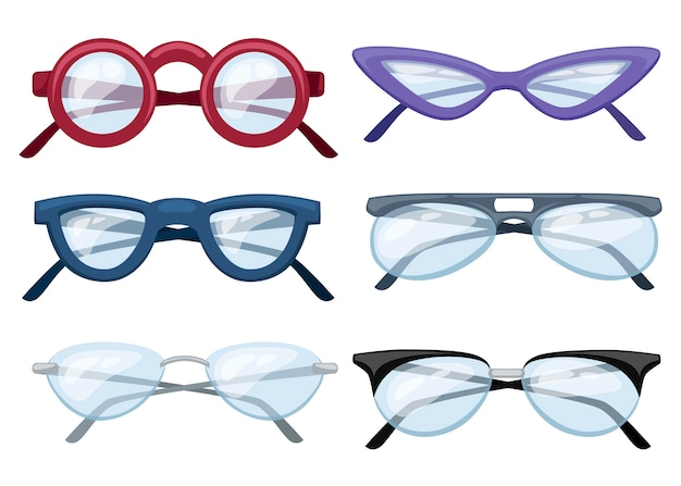 Set of colorful glasses illustration Premium Vector