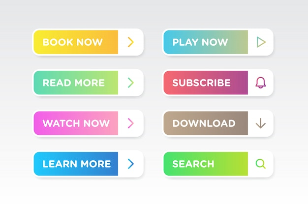 Set of colorful gradient clean style buttons icon vector modern material Premium Vector