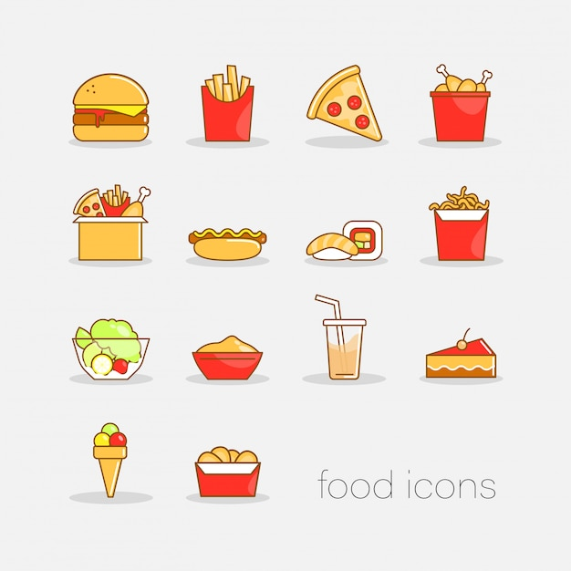 Set of colorful hand drawn doodle style fast food icons. flat colorful illustration for web. Premium Vector