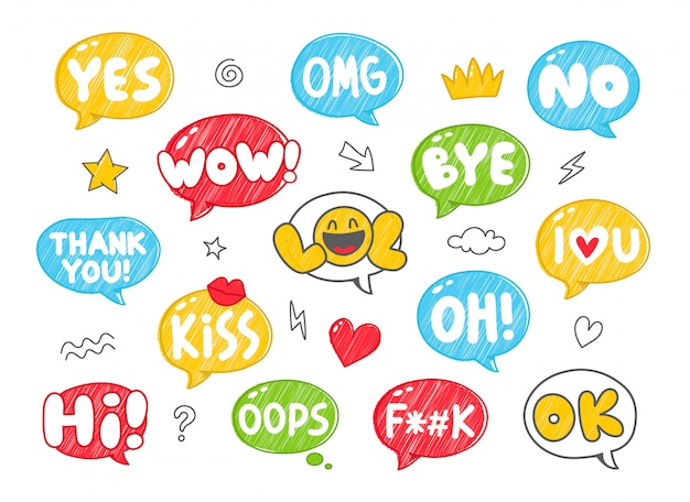 Set of colorful hand drawn style speech bubbles with handwritten short phrases Premium Vector