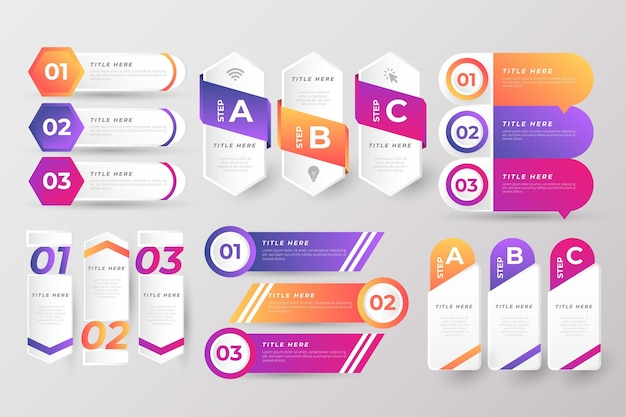 Set of colorful infographic elements Free Vector