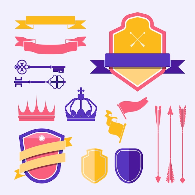 Set of colorful label ornament vectors Free Vector