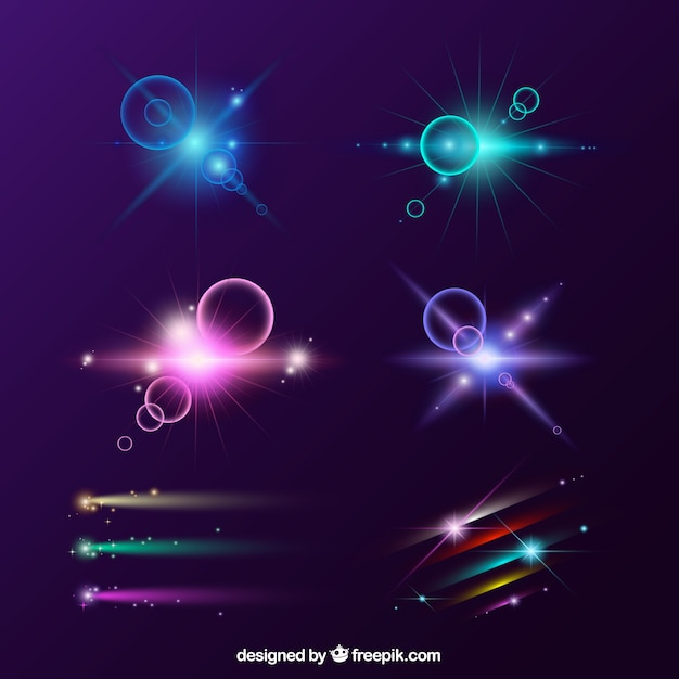 Set of colorful lens flare with realistic style Free Vector