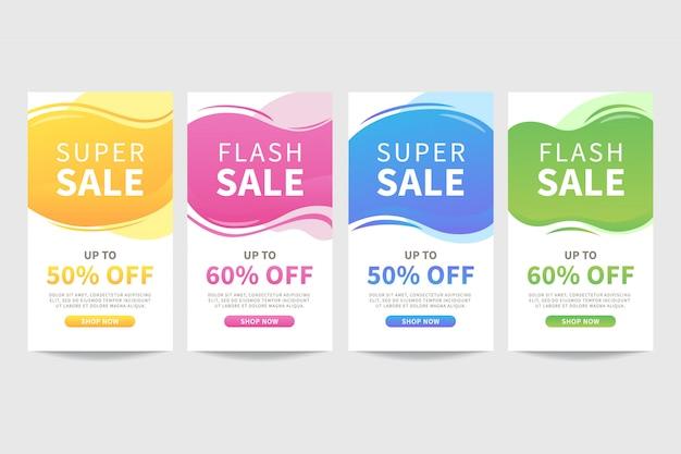 Set of colorful liquid abstract sale banner template Premium Vector