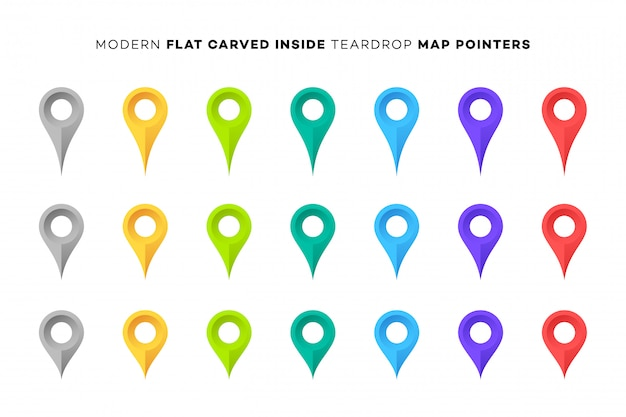 Set of colorful map markers. Premium Vector