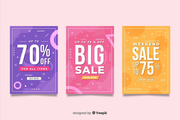 Set of colorful memphis sales banner Free Vector