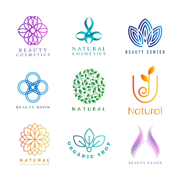 Set of colorful natural cosmetics logo vector Free Vector