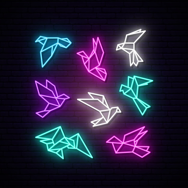 Set of colorful neon geometric dove. Premium Vector