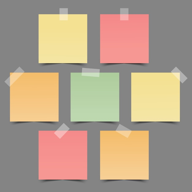 Set of colorful note papers Premium Vector