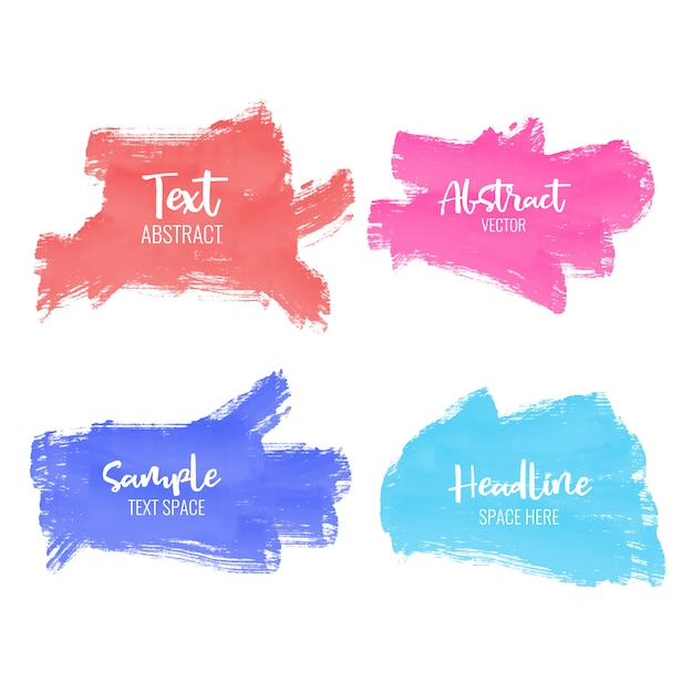 Set of colorful paint brush stroke Free Vector