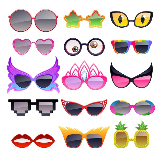 Set of colorful party sunglasses icons. funny fashion glasses accessories. Premium Vector