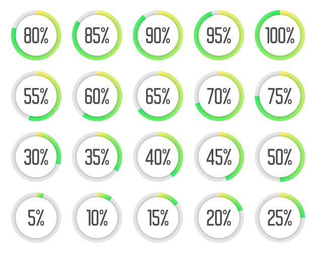 Set of colorful pie charts. collection of green percentage diagrams Premium Vector