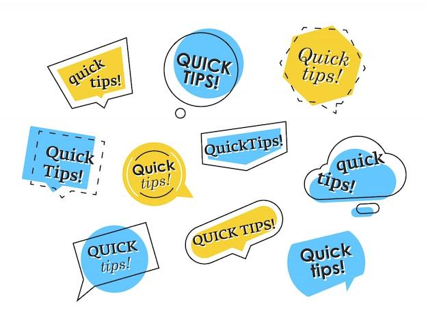 Set of colorful quick tips elements Premium Vector
