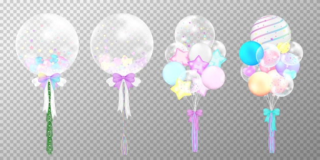 Set of colorful realistic balloons on transparent background. Premium Vector