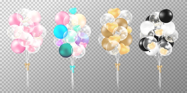 Set of colorful realistic balloons on transparent background. Free Vector