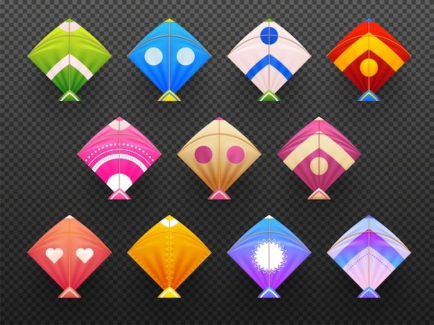 Set of colorful realistic kites Premium Vector