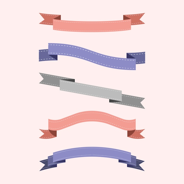 Set of colorful ribbon vectors Free Vector