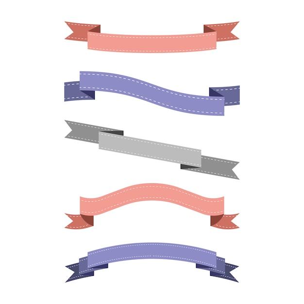 Set of colorful ribbon Free Vector