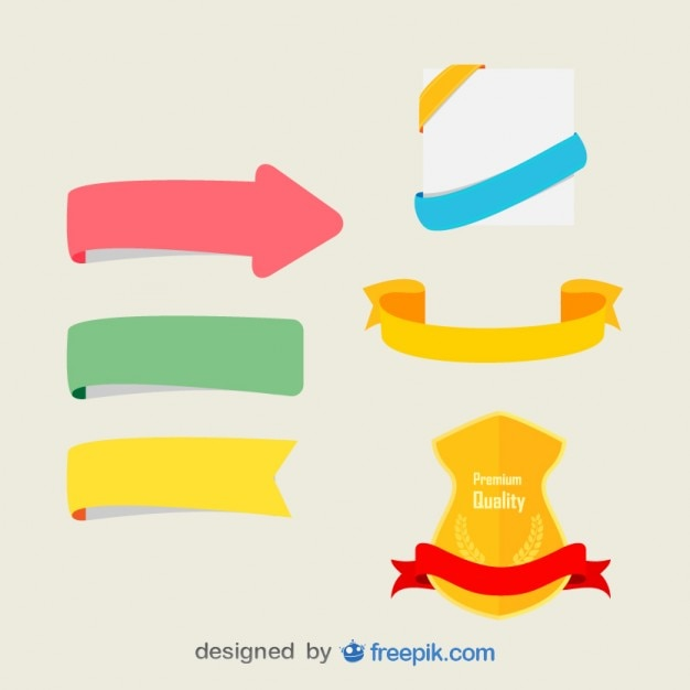 Set of colorful ribbons Free Vector