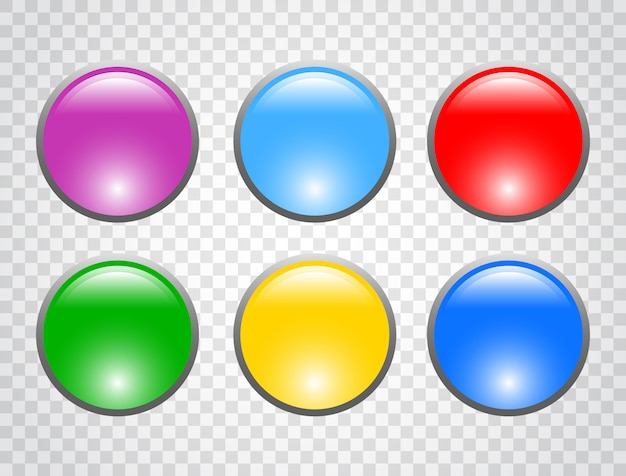 Set of colorful round buttons Premium Vector