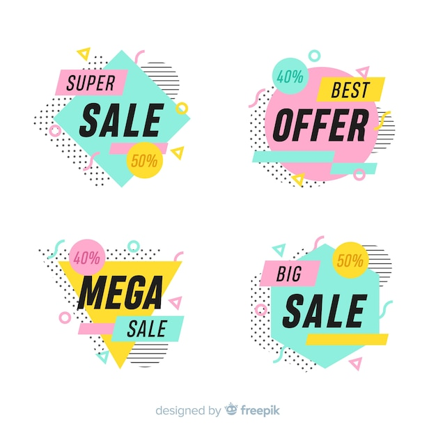 Set of colorful sale banners in memphis style Free Vector