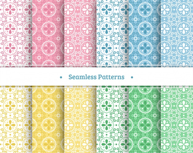 Set of colorful seamless patterns Premium Vector