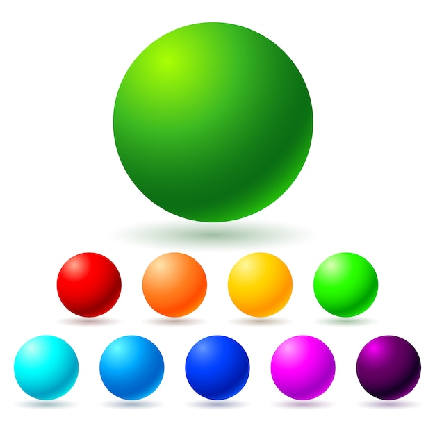 Set of colorful sphere balls Premium Vector