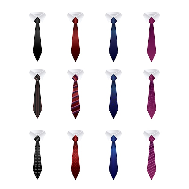 Set of colorful ties isolated Premium Vector