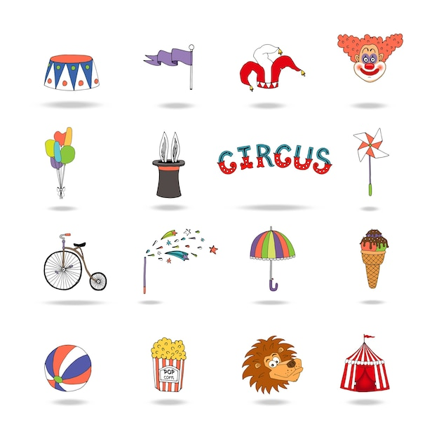 Set of colorful vector circus icons with a podium  flag  jokers hat Free Vector