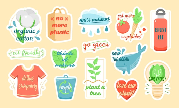 Set of colorful vector stickers of various ecological symbols with inscriptions about environment protection designed as part of eco friendly campaign Premium Vector
