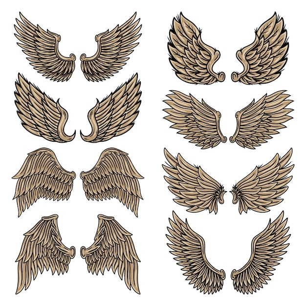 Set colorful vintage retro wings angels and birds isolated  illustration in tattoo style. Premium Vector