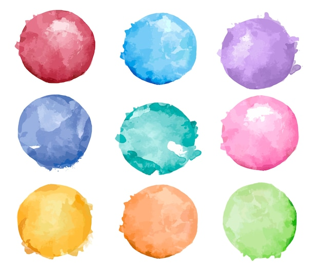 Set of colorful watercolor badge vector Free Vector