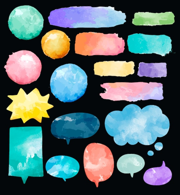 Set of colorful watercolor speech bubbles vector Free Vector