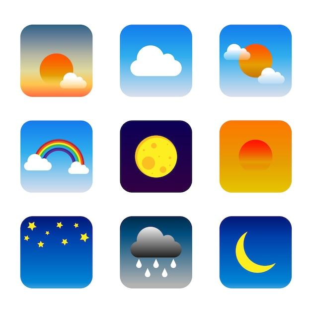 Set of colorful weather widget icons Vector   Premium Download