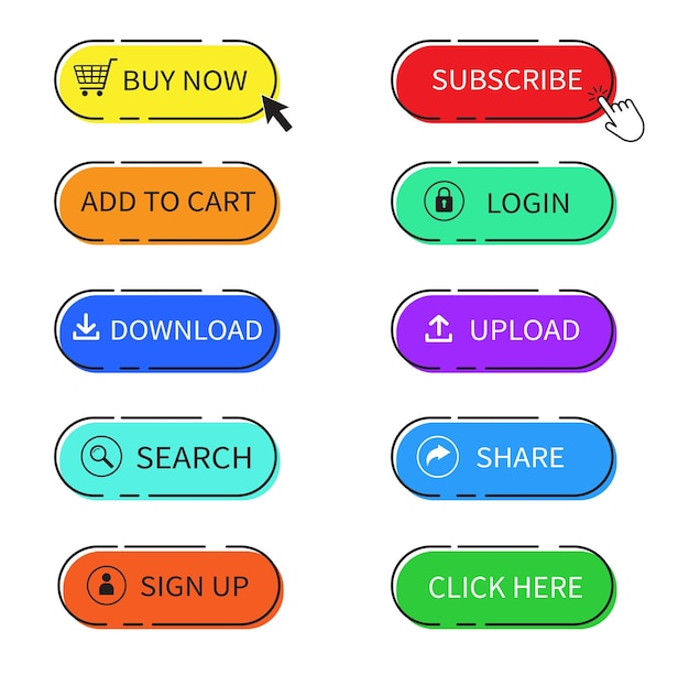 Set of the colorful web buttons. buy now button. Premium Vector