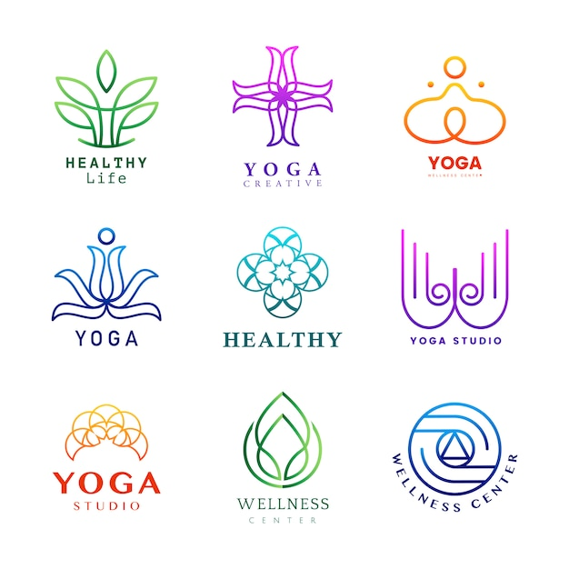 Set of colorful yoga logo vector Free Vector