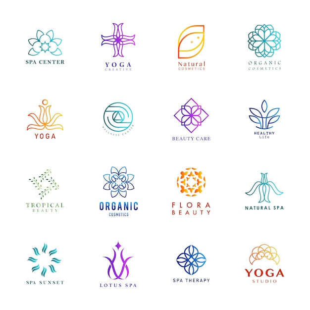 Set of colorful yoga and spa logo vector Free Vector