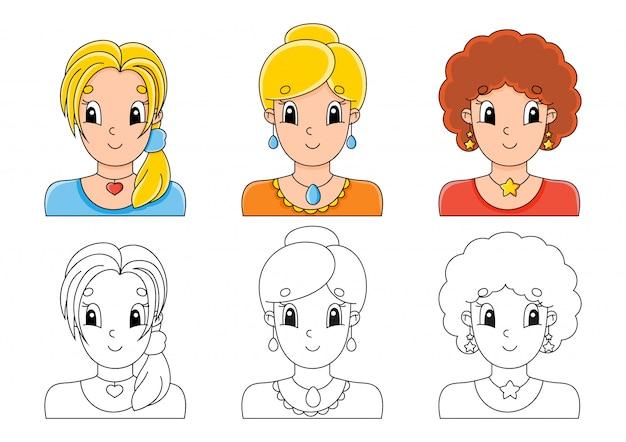 Установить раскраски для детей. симпатичные герои мультфильмов. Premium векторы