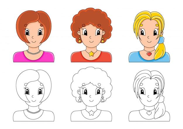 Установить раскраски для детей. Premium векторы