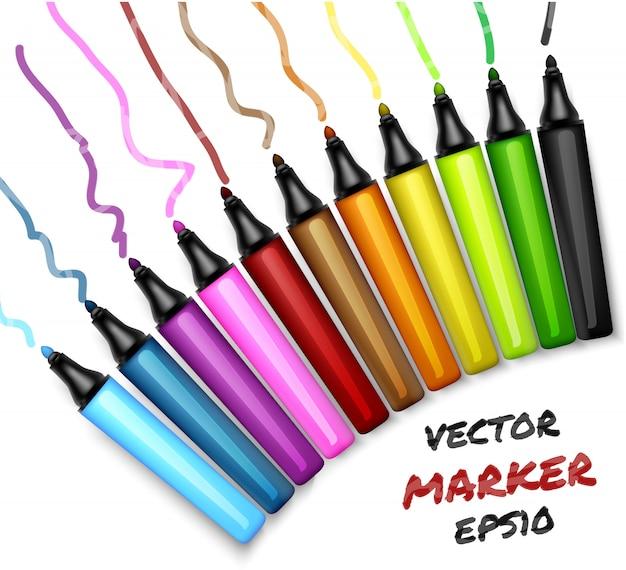Set of colors open permanent markers pen. felt-pen illustration Premium Vector